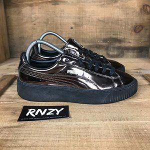 Puma Basket Platform Metallic Bronze Casual Shoes